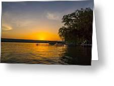 Deep Orange Sunset Over Keuka Lake Greeting Card