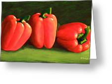 Deep Red Peppers Greeting Card