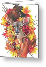 Deer And Fall Leaves Greeting Card