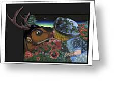 Deer And Girl Greeting Card