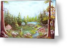 Deer And Stream Greeting Card