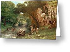 Deer By A River Greeting Card