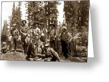 Deer Hunters  With Rifles Circa 1917 Greeting Card