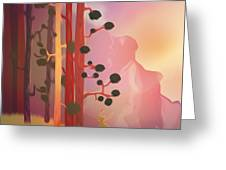Deer In The Forest - Abstract And Colorful Mountains Greeting Card