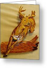 Deer Jumping Over A Log Greeting Card