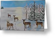 Deer On The Frozen Lake Greeting Card