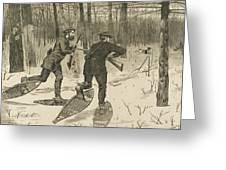 Deer-stalking In The Adirondacks In Winter Greeting Card