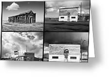 Defunct Country Taverns On North Dakota Prairie Composite Square Greeting Card