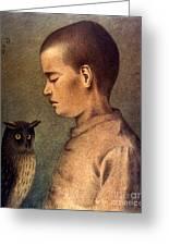 Degouve: Child & Owl, 1892 Greeting Card