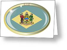 Delaware State Flag Oval Button Greeting Card