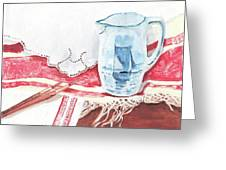 Delft And Linens Greeting Card by Kathryn B