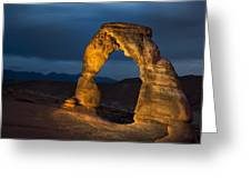 Delicate Arch At Night Greeting Card by Adam Romanowicz