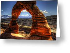 Delicate Arch Framing La Sal Mountains Greeting Card