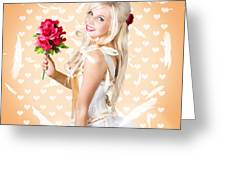 Delicate Young Woman Holding Flower Bunch Greeting Card