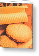 Delicious Cookies With Piece Of Butter Greeting Card