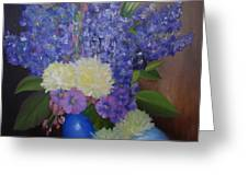 Delphiniums In Blue Vase Greeting Card
