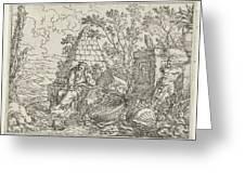 Democritus Mediterend, Jonas Umbach, 1634 - 1693 Greeting Card