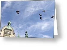 Denmark, Copenhagen, Amager Torv, Shoes Greeting Card