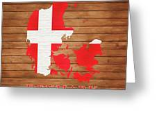 Denmark Rustic Map On Wood Greeting Card