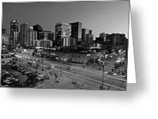 Denver At Night B W Greeting Card