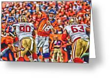 Denver Broncos Peyton Manning Oil Art Greeting Card