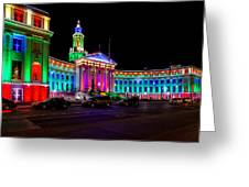 Denver City County Building Holiday Lighting. Greeting Card