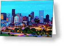 Denver city skyline watercolor painting by john malone denver city skyline watercolor greeting card m4hsunfo