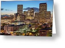 Denver Skyline Evening Panoramic Greeting Card