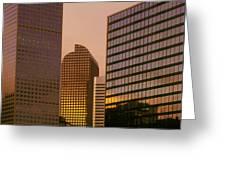 Denver Skyline Of Glass Greeting Card