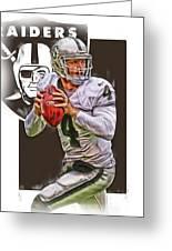 Derek Carr Oakland Raiders Oil Art Greeting Card