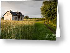 Derelict Disused House In Field Greeting Card