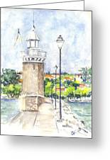 Desenzenzo Lighthouse And Marina In Italy Greeting Card