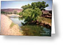 Desert Pond And Dry Mountains Greeting Card