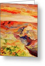 Desert Valley At Sunset  Greeting Card