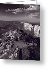 Desert View At Grand Canyon Arizona Bw Greeting Card