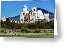 Desert View - San Xavier Mission - Tucson Arizona Greeting Card