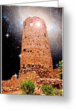 Desert View Tower, Starry Night, Grand Canyon Greeting Card
