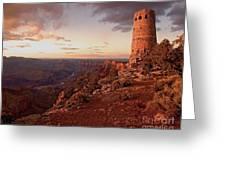Desert Watchtower At Sunset Greeting Card