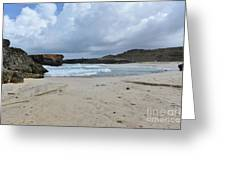 Deserted White Sand Beach On The East Coast Of Aruba Greeting Card