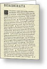 Desiderata Poem On Parchment Greeting Card