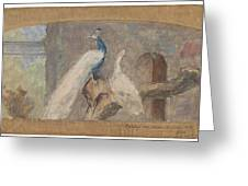 Design For A Dessus De Porte Branch With Peacock And Other Birds, August Allebe, 1874 Greeting Card