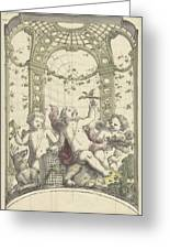 Design For A Gazebo Of Green Trellis, In Which Three Putti Play With Animals, Daniel Marot II, 170 Greeting Card