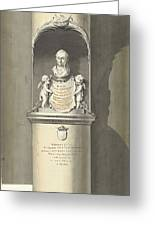 Design For A Monument To C. Brunings A Bust In A Niche, Bartholomeus Ziesenis, 1806 Greeting Card