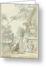 Design For A Room Piece Dorinda Returns Silvio His Dog, Dionys Van Nijmegen, 1715 - 1798 Greeting Card