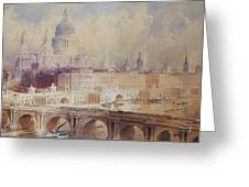Design For The Thames Embankment, View Looking Downstream Greeting Card