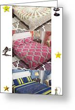 Designer Bed Sheet To Decor Home Greeting Card