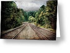 Destination Unknown, Travel Journey Train Tracks Greeting Card