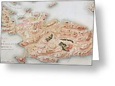 Detail Of A Map Of Rhode Island During French Occupation Greeting Card