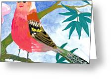 Detail Of Bird People The Chaffinch Family Father Greeting Card