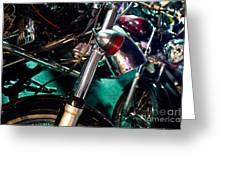 Detail Of Chrome Headlamp On Vintage Style Motorcycle Greeting Card